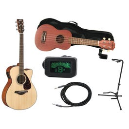 Image for FXS800 Acoustic Guitar Super Pack with Acoustic-Electric Guitar, Ukulele, Guitar Stand, and Instrument Cable from SamAsh