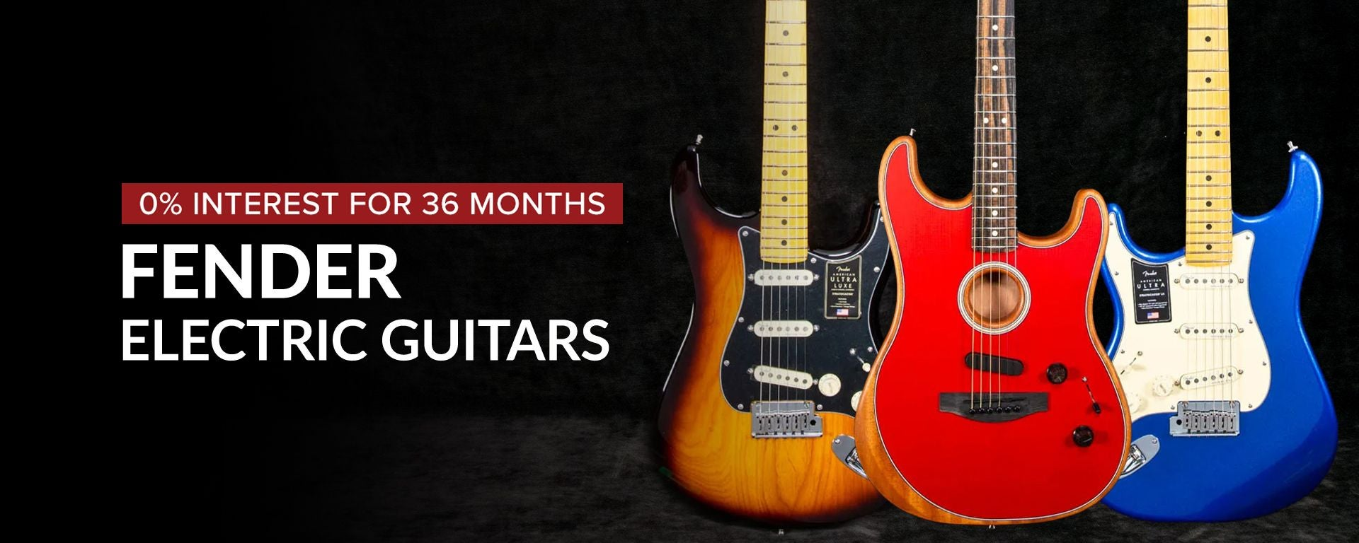 Shop Fender Electric Guitars with 36 Months Financing  at Sam Ash