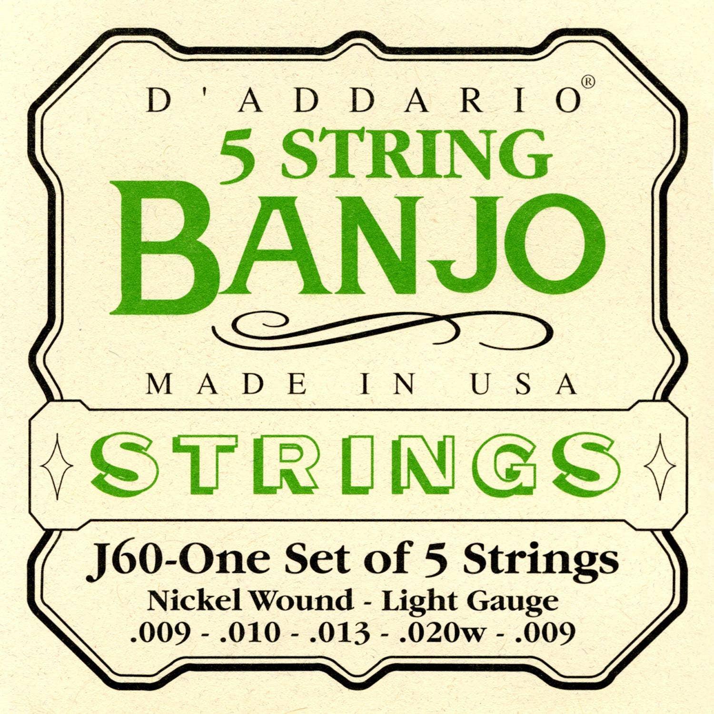 D'Addario J60 Light Nickel 5 String Set Banjo Strings (9-20) for sale