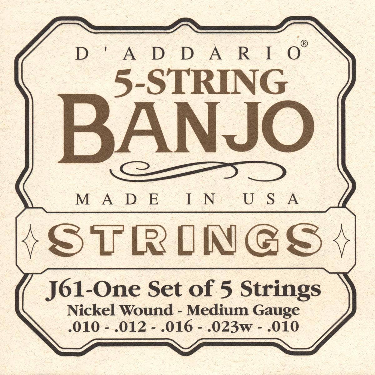 D'Addario J61 Medium Nickel 5 String Set Banjo Strings (10-23) for sale