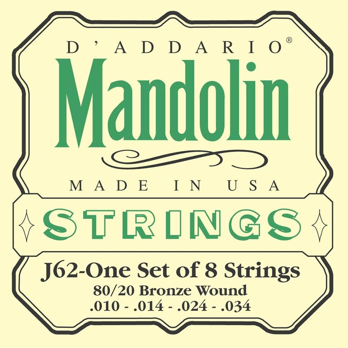 D'Addario J62 Light 80/20 Bronze Mandolin Strings (10-34) for sale