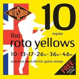 Rotosound R10 Roto Yellows Regular Electric Guitar Strings (10-46) for sale