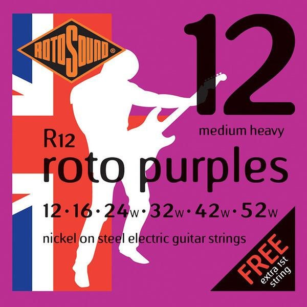 Rotosound R12 Roto Purples, Nickel Electric Guitar Strings, Medium Heavy, 12-52 for sale